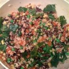 Brown Rice and Black Bean Salad - Brown rice, collard greens, and green peas join other vegetables in this colorful salad.