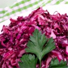 Red Cabbage Salad II - Colorful, crisp red cabbage is tossed with a delightful oil and vinegar dressing.