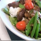 Beef and Vegetable Ragout - Strips of beef tenderloin are sauteed with mushrooms, onion, garlic, and snap peas, and stewed in broth and port.