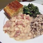 Ham and Beans - Tasty Great Northern beans, simmered with ham, onion, brown sugar and spices.