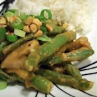Erin's Indonesian Chicken - Chicken and green beans are served over rice with a spicy peanut sauce.