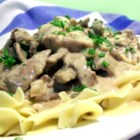 Daria's Slow Cooker Beef Stroganoff - Long, slow cooking (7 to 8 hours) renders top round steak tender enough to use in place of the cuts that are normally required for Beef Stroganoff.