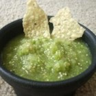 Green Salsa - Tomatillos make this tangy salsa green -- and delicious! Serve it with tortilla chips, on fish, or with tacos and burritos.