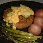 Crumbed Avocado Steak - Crumbed Scotch filet steaks topped with slices of avocado and a rich mustard sauce.