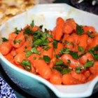 Apricot Glazed Carrots - Carrots are cooked tender then mixed with a tangy apricot sauce. Serve cold or slightly warm.