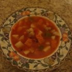 Manhattan Clam Chowder - This is a zesty clam chowder with a tomato juice base, potatoes, green bell pepper, and chopped green onions.  If you start with clams that already shucked, you can have this soup ready to eat in less than 30 minutes.
