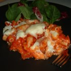 Cavatini II - Three types of pasta and in a cheesy sauce with peppers and mushrooms.