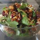Missy's Candied Walnut Gorgonzola Salad - A yummy, easy salad with candied walnuts, cranberries, Gorgonzola cheese, mixed greens, and a raspberry vinaigrette. It's always a big hit and is requested by my friends and family constantly!