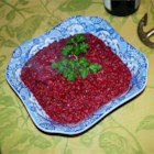 Beet and Pear Puree - Sweet Vidalia onions and Bosc pears are cooked in butter and cranberry vinegar and then pureed with roasted beets.