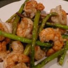 Jumbo Shrimp and Asparagus - Large shrimp sauteed with asparagus, flavored with ginger, soy sauce and sherry.