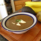 Black Bean Soup II - This easily prepared soup is made with canned black beans which are pureed with sauteed onion, garlic and green bell pepper.