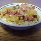 Ham and Pineapple Dinner - A great take on a Hawaiian-style dinner. This one's great for that leftover ham. Cubed ham sauteed with onions and pineapple in a sweet sauce. Kids love it and it's great served over rice or noodles.