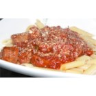 Pasta with Hot Sausage Sauce - Spicy Italian sausage is cooked in an Italian-seasoned tomato sauce and served over ziti pasta.