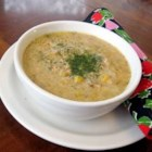 Salmon Chowder - Cheddar, evaporated milk, salmon and potatoes are seasoned with garlic and dill in this easy chowder.
