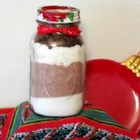 Brownies In A Jar - Dry ingredients for brownies are layered in a one quart jar and given as a gift, along with baking directions.