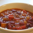 Pumpkin Chili - Ground beef and kidney beans are joined by pumpkin and pumpkin pie spice in this fall twist on chili!
