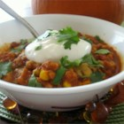 Pumpkin Turkey Chili - A chili for autumn! Turkey, pumpkin, and traditional chili ingredients go together well in this spicy concoction.