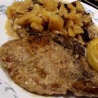 Pork Chop and Potato Casserole - Good, simple pork chops simmered with potatoes in a mushroom sauce.