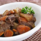 Slow Cooker Beef Stew I - Stew meat is cooked with potatoes, celery, and carrots in a hearty broth. Garlic, Worcestershire sauce, and paprika add flair!