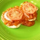 Baked Bean Sandwiches - English muffin halves are topped with maple-cured baked beans, onion, tomato, cheese, and bacon. A delicious family favorite!