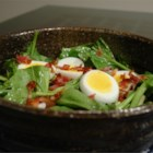 Fresh Spinach and Tarragon Salad - A tarragon infused vinegar and oil dressing with a smidgen of sugar, makes this classic spinach/bacon/egg salad just a bit different.