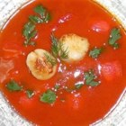 Cream of Tomato (Tofu) - Silken tofu replaces the dairy in this creamy fresh tomato soup garnished with fresh basil.