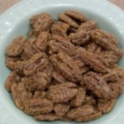 Spiced Pecans - Spiced nuts are a classic holiday snack.  In this simple recipe, pecans are coated with an egg white and dusted with sugar, salt, cinnamon, cloves and nutmeg.