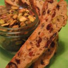 Cranberry Pistachio Biscotti - The red and green make a very pretty cookie. You may use other nuts instead of pistachios, if you prefer.