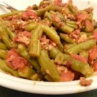 Sweet Italian Green Beans - Crisp bacon, Italian tomatoes, brown sugar, green beans... everyone loves this unusual mixture of ingredients. It usually doesn't last long.