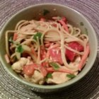 Chicken Noodle Salad with Peanut-Ginger Dressing - Asian flavors star in this chicken-linguine pasta salad that tosses julienned carrots, celery, green onions, and cilantro with a zesty ginger-peanut-garlic seasoned dressing.