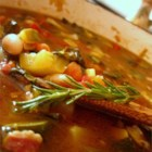 Minestrone Soup I - Lots of fresh vegetables and elbow macaroni in a hearty chicken stock are the stars of this standard minestrone.  The recipe calls for only minced garlic, dried parsley, and salt for seasoning -- great when you are using really fresh and flavorful produce
