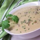 Cream of Mushroom Soup III - Mushrooms and cream are combined with chicken broth and sherry in this simple, quick soup.