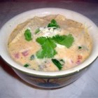 Chicken Tortilla Soup III - The base for this chicken stew with Mexican seasonings is made by combining chicken broth and salsa with half-and-half and condensed cream of chicken soup.  Garnish with tortilla chips and grated cheese.