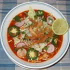 Posole Soup - Authentic Posole is made with the pig's head; the ears are the delicacy. This simple recipe uses more 'acceptable' ingredients.