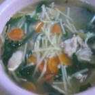 Super Easy Chicken Noodle Soup - Boneless, skinless chicken breast cooked in chicken bouillon is cut into bite-sized pieces and returned to the broth with thin egg noodles in this easy-to-prepare soup.