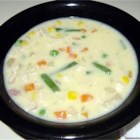 Chicken Pot Pie Soup - Using reduced calorie ingredients makes this soup with cans condensed cream of potato and chicken soup combined with mixed vegetables and cubes of cooked chicken both low in both calories and fat.