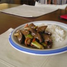 Mongolian Beef II - Savory strips of sirloin roast are soaked in a spicy marinade and sauteed with green onions. Serve over steamed rice or fried rice noodles.
