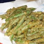 Sesame Tempura Green Beans - This is an easy, delicious green bean tempura recipe. Fresh green beans are deep fried to crisp, golden perfection and dipped in a sweet and sour sauce.