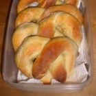 Mom's Pretzels - Soft pretzels get a quick boil in a baking soda and water bath, are sprinkled with coarse salt, and baked for a golden brown, chewy crust.