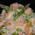 Pasta Strega Nonna - Shrimp, asparagus and garlic are sauteed in olive oil.  Add a few dashes of  your favorite hot sauce and serve this colorful dish on a bed of the pasta of your choice.