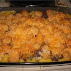 Tater Tot Casserole IV - Layers of green beans, creamy soup, browned ground beef and pork and - of course - tater tots! An easy, tasty casserole.