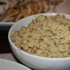 Cornbread Stuffing Southern Style - Creamed corn and yogurt are added to corn muffin mix and baked into a tangy cornbread. The crumbled cornbread is then mixed with sauteed onions, celery, green pepper, and garlic for this Southern-style stuffing.