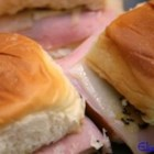 Easy Ham and Cheese Appetizer Sandwiches - These little ham and Swiss cheese sandwiches will disappear in a flash!