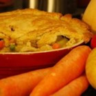 Gram's Chicken Pot Pie - Frozen veggies, canned soup and prepackaged pie crust combine with boiled chicken meat to make this one a breeze to prepare.