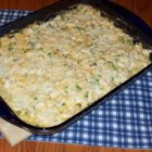 Sandy's Casserole - A chicken casserole that has Cheddar cheese and elbow macaroni as the main ingredients.