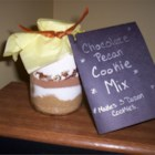 Cookie Mix in a Jar VI - Chunky Chocolate Cookie mix in a jar with tag attached with directions on how to prepare the mix.   These make wonderful gifts to give any time of year and also for wedding favors, hostess gifts, baby showers or take to a cookie exchange and make sure to bake some up so people know what they taste like to.  Store in a cool dry place away from a heat source so condensation and clumping does not occur. Enjoy!