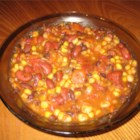 Spicy Black and Red Bean Soup - Vegetables lightly sauteed are combined with Mexican-style stewed tomatoes, green chilies and corn in this recipe using canned black and kidney beans.