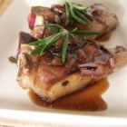Lamb Chops with Balsamic Reduction - This recipe for lamb chops is a favorite in my house.  It is an easy and quick recipe for two people (we eat two chops each). Rosemary and thyme give it great flavor.  If you double the recipe, remember that the sauce will take longer to reduce.