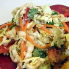Asian Coleslaw - This is a three cabbage slaw  - green, red, and napa - but the real delight is the dressing. It is made with creamy peanut butter laced with brown sugar, fresh ginger, and garlic - and a bit of oil, vinegar, and soy sauce.