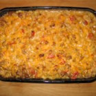 Cheesy Macaroni and Beef Casserole with Thyme - Cheese, onions, ground beef, and macaroni baked with cherry tomatoes and fresh thyme.  Simple and delicious.